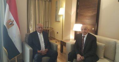 على عبدالعال يلتقى المستشار عقيلة صالح رئيس مجلس النواب الليبى
