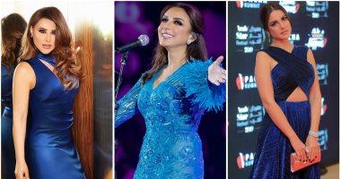 اللون الأزرق موضة 2020 كيف ارتدته نجمات العالم العربى صور اليوم السابع