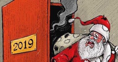 كاريكاتير صحيفة كويتية.. بابا نويل يهرب من 2019