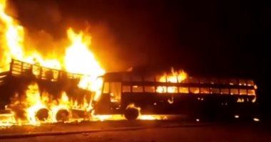 فيديو.. 20 قتيلاً على الأقل فى حادث تصادم بين حافلة وشاحنة شمال الهند