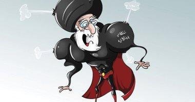 """كاريكاتير صحيفة سعودية.. النظام الإيرانى """"شيطان"""" يسعى لنشر الفوضى والخراب"""