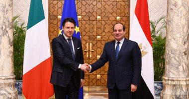توافق بين السيسى ورئيس وزراء إيطاليا لدعم مساعى التسوية السياسية وحل أزمة ليبيا