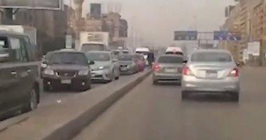 زحام مرورى أعلى الدائرى الإقليمى بالقاهرة بسبب انقلاب سيارة نقل مازوت