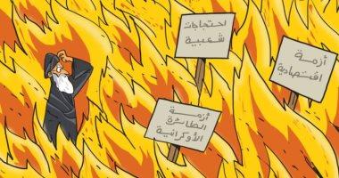 كاريكاتير صحيفة إماراتية.. الأزمات تحاصر النظام الإيرانى