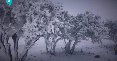 مرتفعات الشراة فى الأردن تتحول إلى جزء من أوروبا بسبب تساقط الثلوج.. فيديو