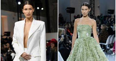 بيلا حديد تخطف الأنظار بأسبوع الموضة بباريس 2020 ببدلة جريئة وفستان أنيق