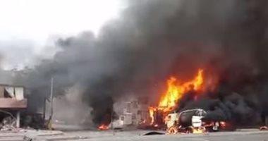انفجارات ضخمة فى مخازن للأسلحة خلف مبنى التلفزيون بصنعاء