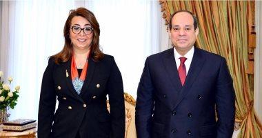 الرئيس السيسى يلتقى غادة والى ويهنئها بمنصبها الأممي