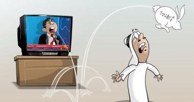 كاريكاتير صحيفة سعودية.. نشر الأكاذيب فى قنوات التحريض والفتنة
