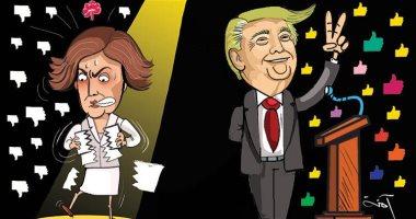 كاريكاتير صحيفة إماراتية.. ترامب ينتصر على نانسى بيلوسى فى قضية العزل