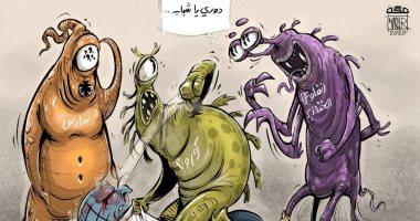 كاريكاتير صحيفة سعودية.. الفيروسات القاتلة تتناوب على ضرب الكرة الأرضية