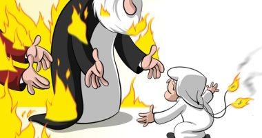 كاريكاتير صحيفة سعودية.. محاولات إيرانية خبيثة لنشر الفتن فى البلاد العربية