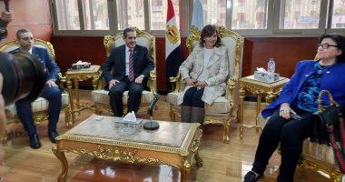 صور.. وزيرة الهجرة تصل محافظة الغربية لزيارة عدد من القرى المنتجة