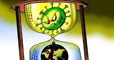 كاريكاتير صحيفة إماراتية.. فيروس كورونا يغزو العالم