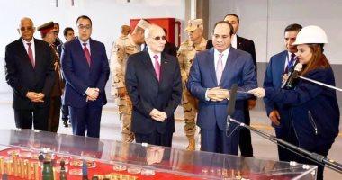 """السيسى يفتتح مصانع جديدة بالإنتاج الحربى.. ويتفقد المدرعة """"سينا200"""""""