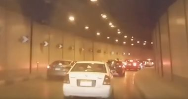 تكدس حركة مرور السيارات بنفق الأزهر المتجه لوسط القاهرة