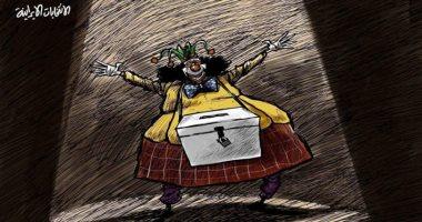 كاريكاتير صحيفة سعودية.. البهلوان يتحكم بالانتخابات الإيرانية