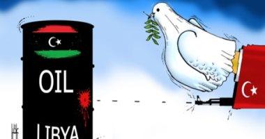 كاريكاتير صحيفة إماراتية.. تركيا تحاول سرقة بترول ليبيا باسم السلام