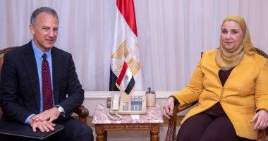 لقاء وزيرة التضامن والسفير الأمريكى