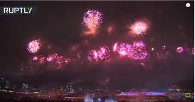 """شاهد.. ألعاب نارية في سماء موسكو بمناسبة عيد """"حماة الوطن"""""""