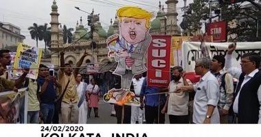 شاهد مظاهرات فى الهند احتجاجاً على زيارة الرئيس الأمريكى ترامب