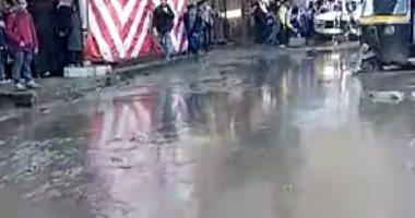 شكوى من تراكم مياه الصرف والأمطار  بشارع الوحدة بإمبابة ..صور