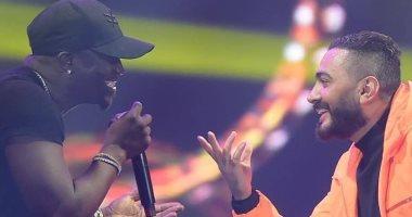 """""""نورك يا تيمو"""".. Akon يرد باللغة العربية على تامر حسنى بعد حفلتهما بجدة"""