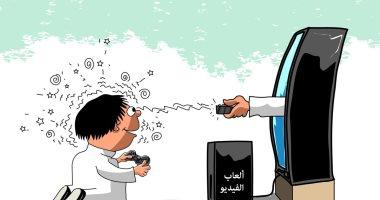 كاريكاتير صحيفة سعودية.. الألعاب الالكترونية تتلاعب بعقول الأطفال