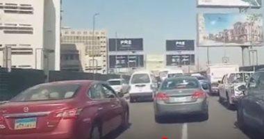 تباطؤ حركة السيارات أعلى كوبرى أكتوبر المتجه من مدينة نصر للدقى