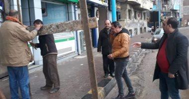 صور .. سقوط أجزاء خرسانية من عقار شرق الإسكندرية خلال موجة الطقس السئ