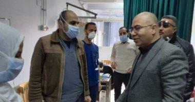 صور ..إجراءات احترازية بأقسام الطوارئ والعيادات الخارجية بمستشفى بني سويف الجامعى