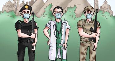 طبيب ومقاتل وشرطى.. جنود مصر لمواجهة فيروس  كورونا فى كاريكاتير اليوم السابع