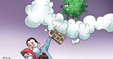 """""""خليك في البيت"""" أقوى وسيلة للقضاء على كورونا بكاريكاتير اليوم السابع"""
