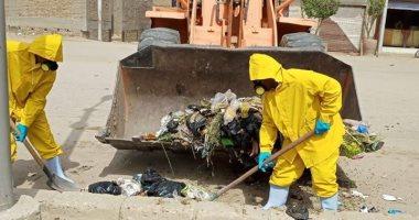 صور.. رفع 540 طن مخلفات صلبة على مدار أسبوع فى مدينة البياضية