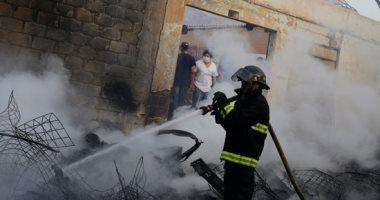 السيطرة على حريق شب خلف محطة قطار ميت عنتر بالدقهلية