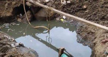 انتشار مياه الصرف الصحى بسبب سوء تنفيذ الخطوط بكفر الجنيدى فى الشرقية
