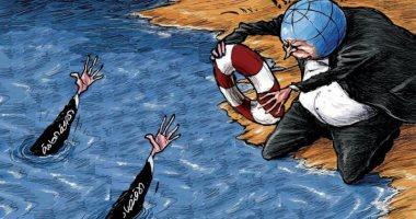 كاريكاتير صحيفة سعودية.. الصحة العالمية والاقتصاد غرقا في بحر كورونا