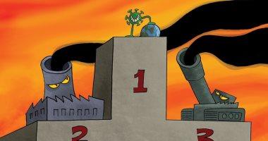 كاريكاتير صحيفة إماراتية.. تأثيرات فيروس كورونا فاقت كل انبعاثات التلوث