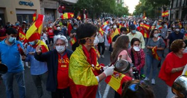 تظاهرات فى إسبانيا ضد إجراءات الحكومة فى التعامل مع أزمة كورونا