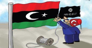 كاريكاتير صحيفة إماراتية.. أردوغان يحاول إقامة دولة داعش الإرهابية فى ليبيا