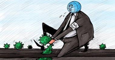 كاريكاتير صحيفة إماراتية.. الصحة العالمية تحاول اقتلاع فيروس كورونا