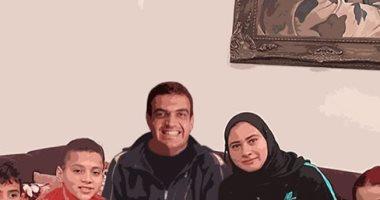 قارئ يشارك بلوحة فنية للشهيد أحمد المنسى مع أسرته