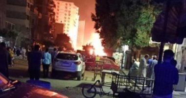 الحماية المدنية تسيطر على حريق ماسورة غاز حلمية الزيتون