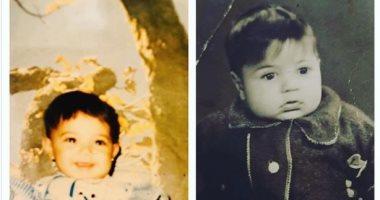 """بصورتين من الطفولة.. إيمى طلعت زكريا: """"أنا وبابا يا ترى شبه بعض؟"""""""
