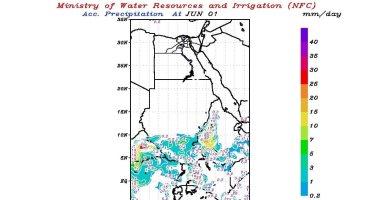تنبؤ الرى يتوقع سقوط أمطار غزيرة اليوم على الهضبة الإثيوبية