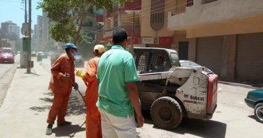 رفع تراكمات القمامة وتسوية الطرق بالشوارع والأراضى الفضاء فى طنطا (صور)