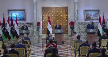 الرئيس عبد الفتاح السيسي - عقيلة صالح رئيس مجلس النواب الليبي - المشير خليفة حفتر