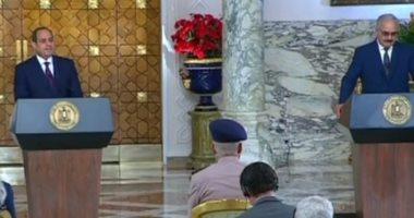 السيسى يحذر أى طرف من البحث عن حل عسكرى في ليبيا ويؤكد: أمنها من أمن مصر