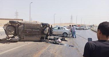 إصابة 4 أشخاص فى تصادم سيارتين بطريق مرسى علم - إدفو -