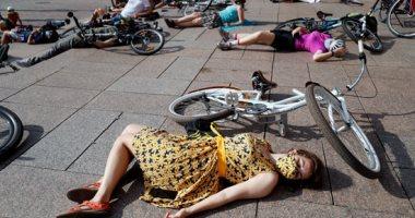 """مظاهرة بـ""""الدراجات"""" فى أوكرانيا للمطالبة بإنشاء ممرات وتشييد قواعد حركة الشارع"""